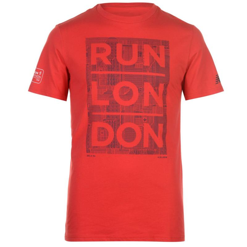 Tričko New Balance Virgin London Marathon 2018 Graphic T Shirt Mens Red RunLondon