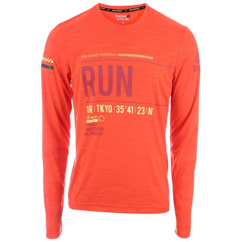 Reebok Mens OSR Activchill LS T-Shirt Orange