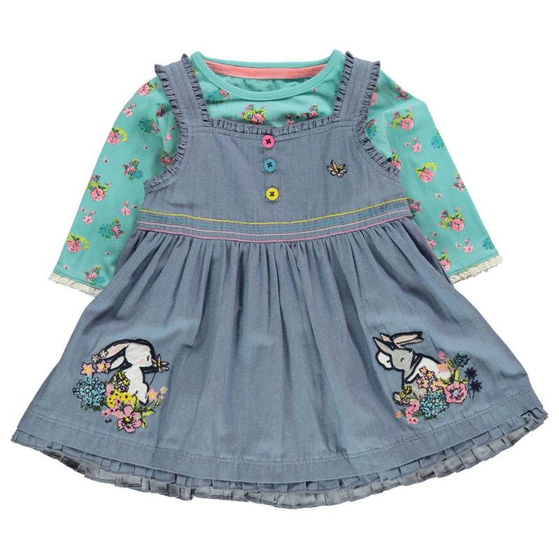 Šaty Crafted Mini 2 Piece Dress Set Baby Girls Floral Border