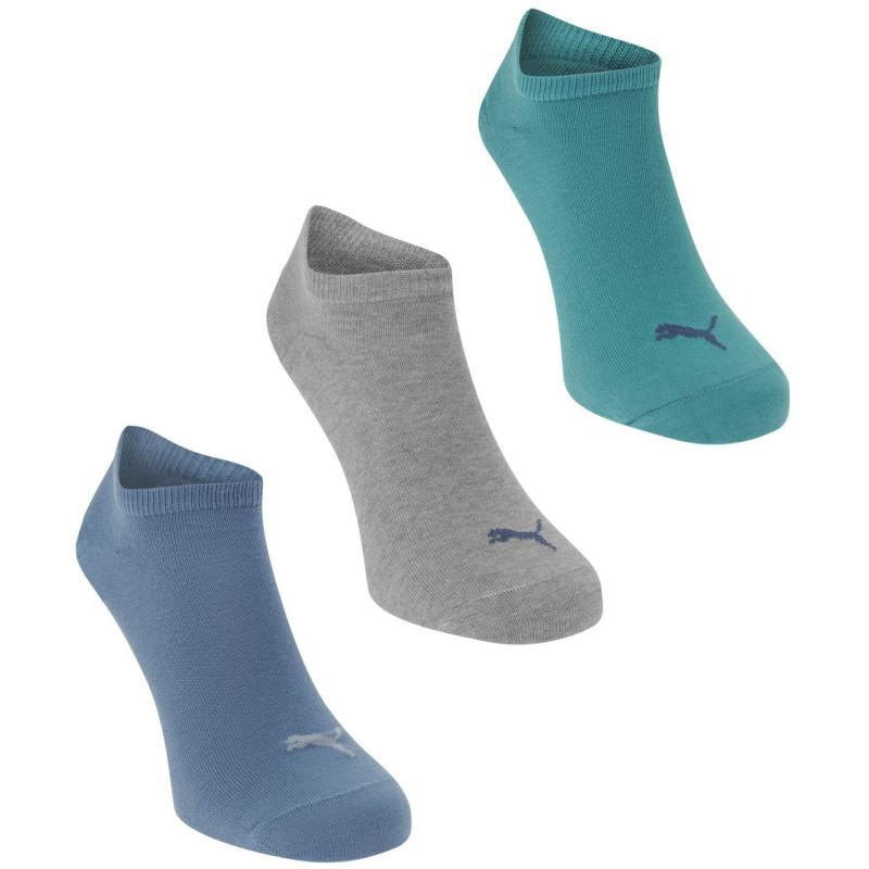 Ponožky Puma Pack of 3 Sneaker Socks Mens Green/Blue
