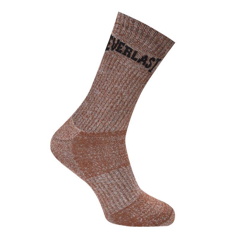 Ponožky Everlast 3 Pack Crew Socks Mens Brown