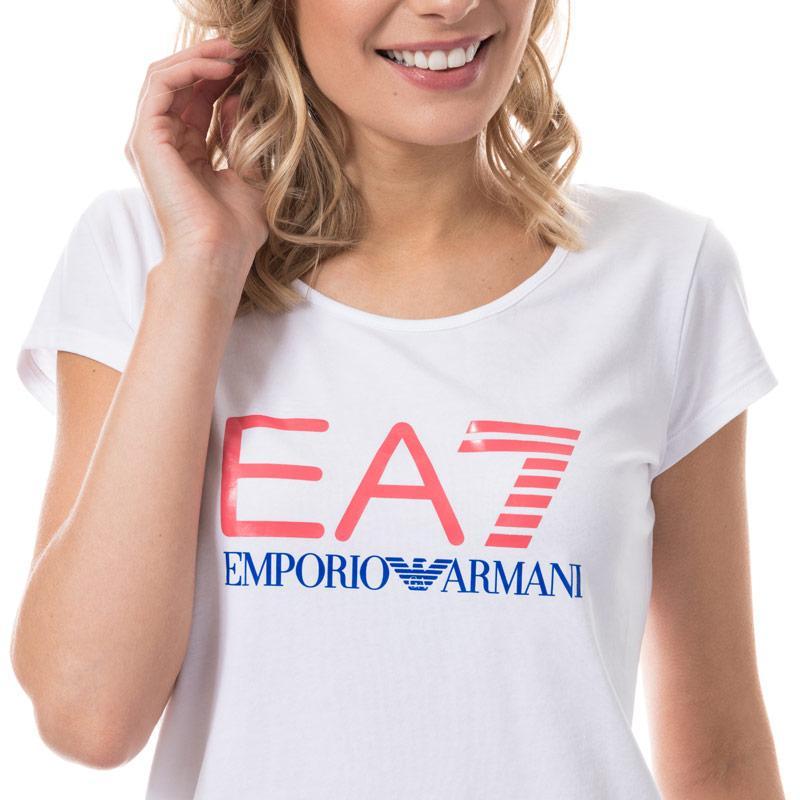 Emporio Armani EA7 Womens Stretch Cotton Jersey T-Shirt White