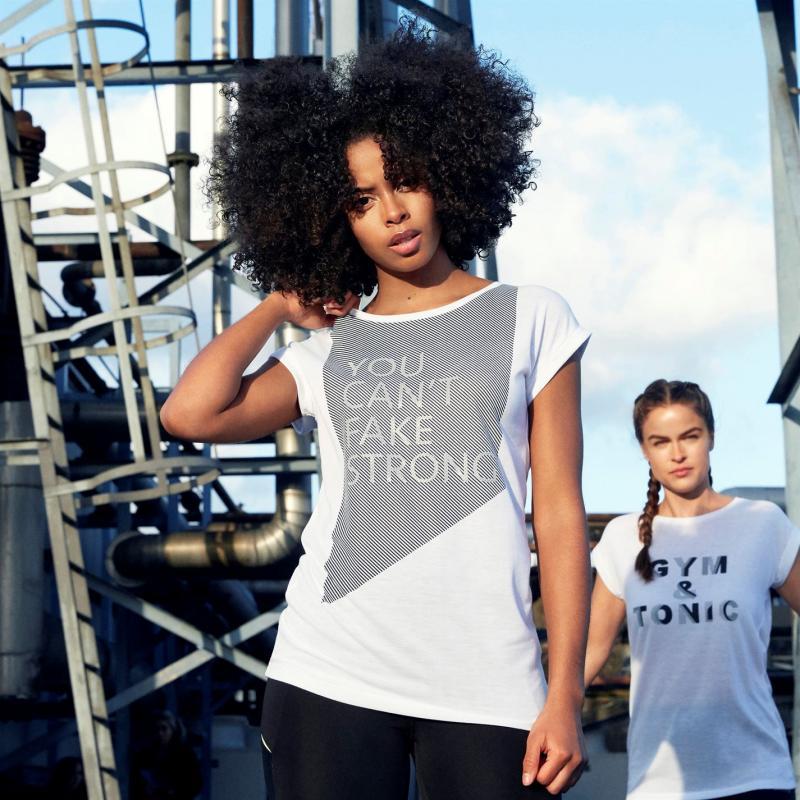 Legíny SportFX Reflective Slogan T Shirt Ladies White Fake Str