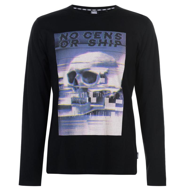 Tričko Fabric Long Sleeve Glitch Top Mens Black