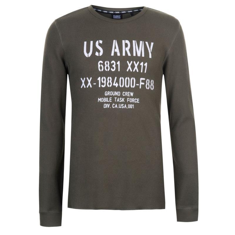 Tričko Fabric Long Sleeve Waffle T Shirt Mens Khaki Velikost - L