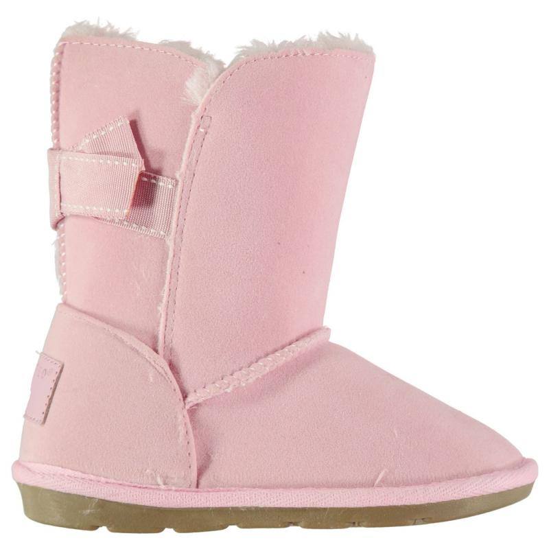 Crafted Bow Snug Boots Girls Pink