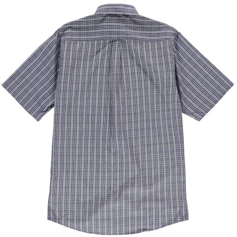 Fusion Textured Dobie Overplaid Shirt Mens Blue