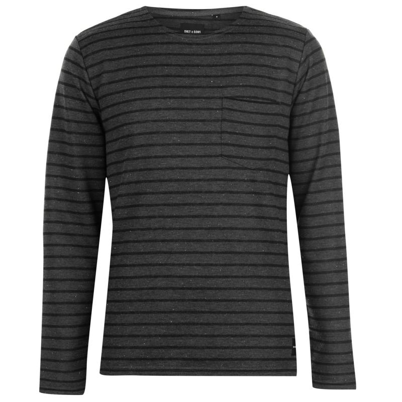 Mikina Only and Sons Pally LS Fitted Crew Neck Sweater Dark Grey