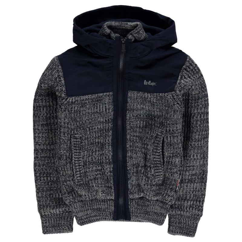 Lee Cooper Twist Mix Fabric Knitted Cardigan Junior Boys Navy Twist