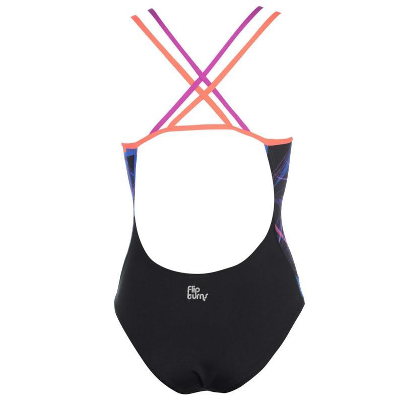 Plavky Speedo Flipturns Double Crossback Swimsuit Ladies Black/Red