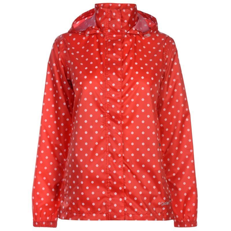 Gelert Packaway Waterproof Jacket Ladies Red Polka Dot