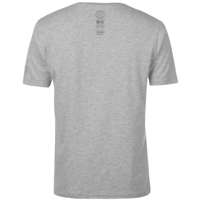 Tričko Crosshatch Camocru T Shirt Mens Grey Marl