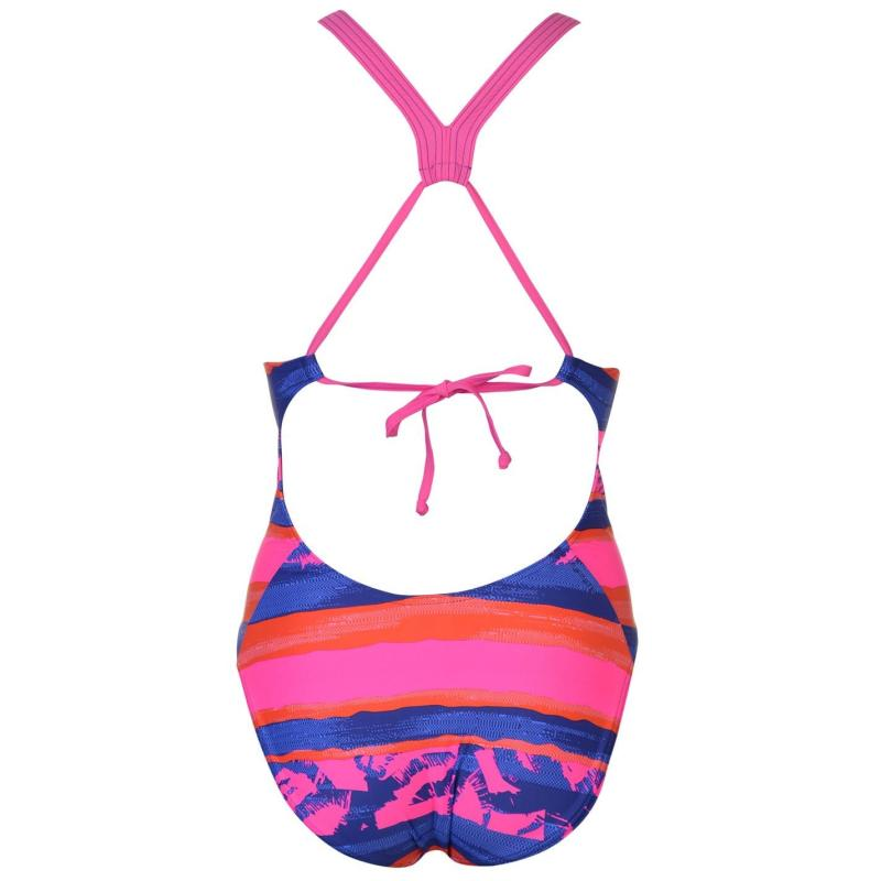 Plavky adidas Fit All Over Print Swimsuit Ladies Trace Royal
