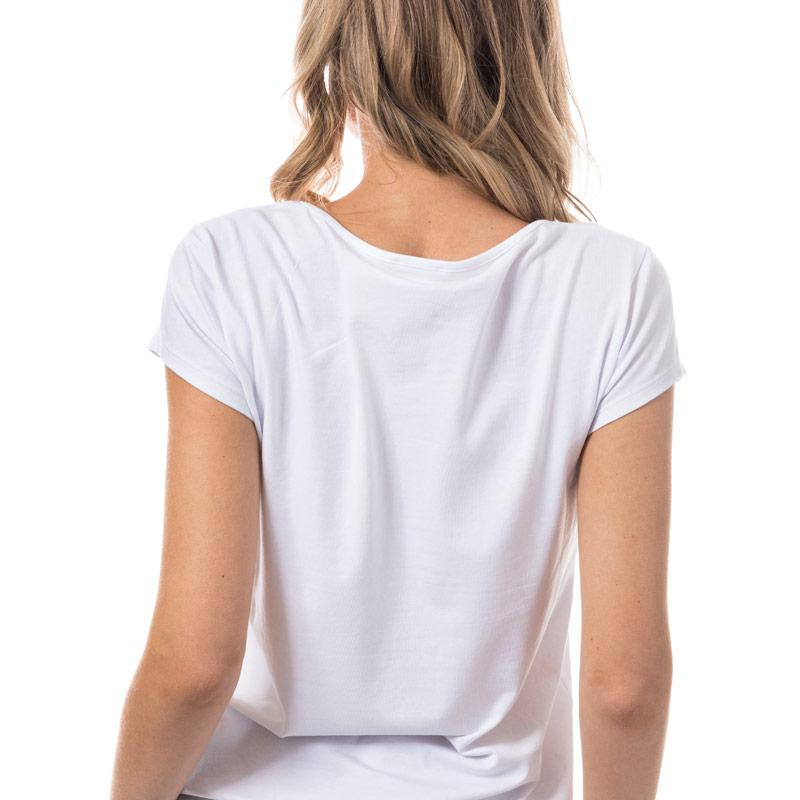 Emporio Armani EA7 Womens Stretch Cotton Jersey T-Shirt Coral