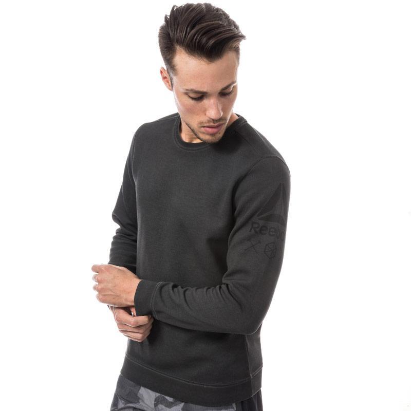 Reebok Mens Quik Cotton Dirty Wash Crew Sweatshirt Charcoal
