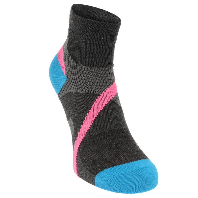 Ponožky Karrimor Support Quarter Socks 2 Pack Ladies Blk/Pink/Blue