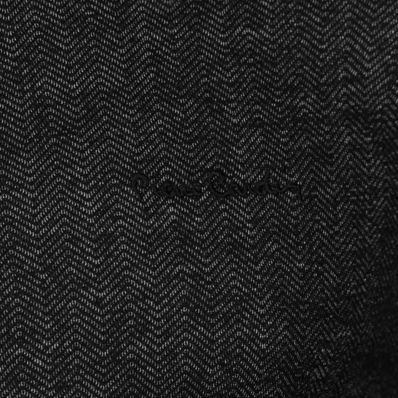 Mikina Pierre Cardin Herringbone Full Zipped Sweater Mens Black