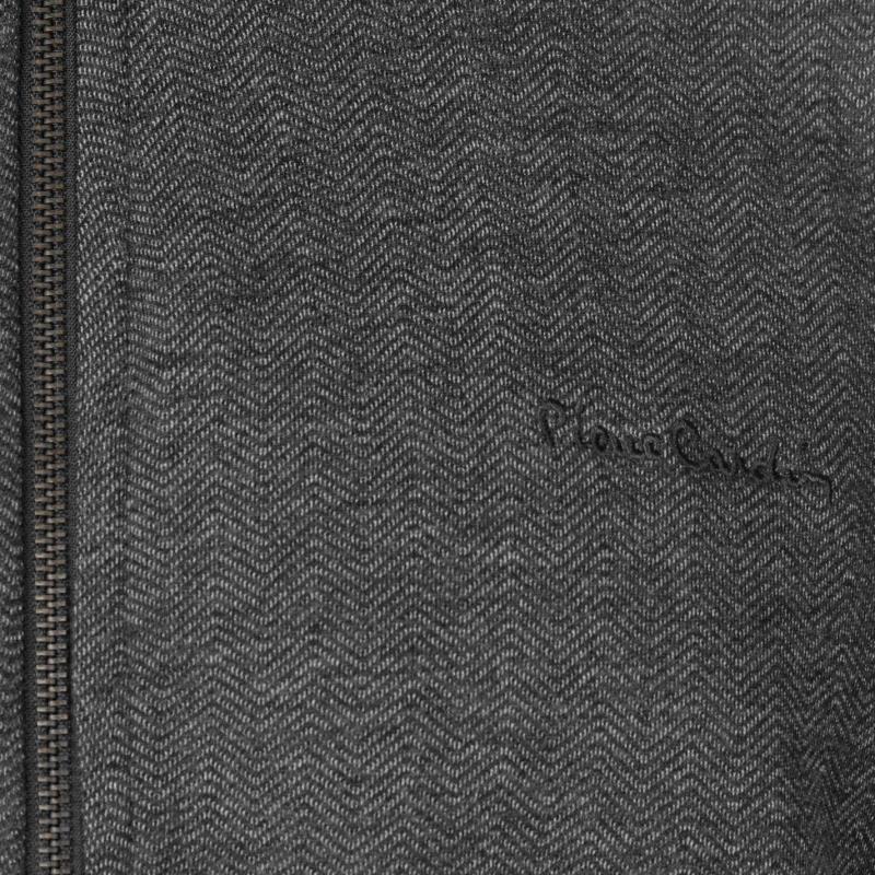 Mikina Pierre Cardin Herringbone Full Zipped Sweater Mens Charcoal Marl