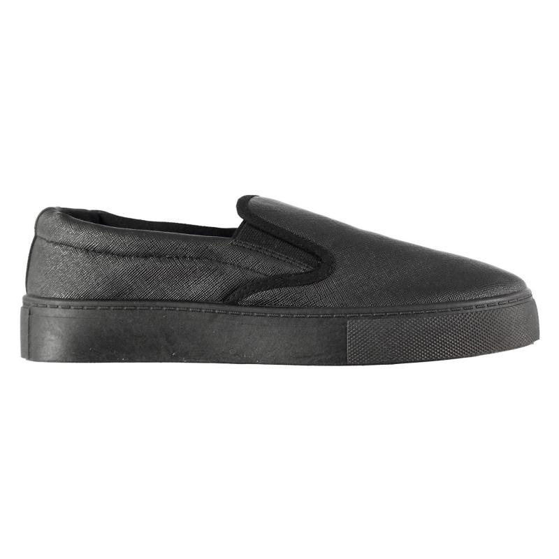 Fabric Hustle Slip On Trainers Ladies Blk Saff