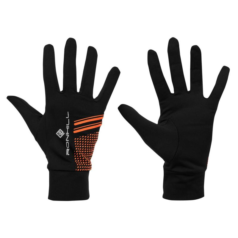 Ron Hill Beanie and Gloves Set Mens Black/Orange