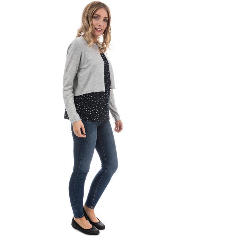 Svetr Only Womens Amaryllisa Short Cardigan Grey