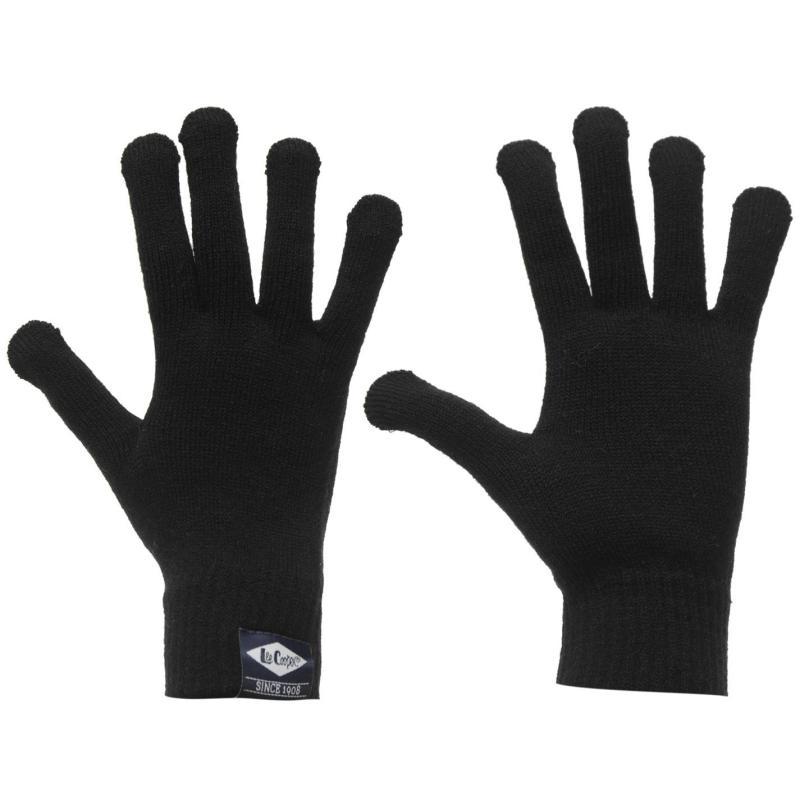 Lee Cooper Knitted Gloves Mens Black