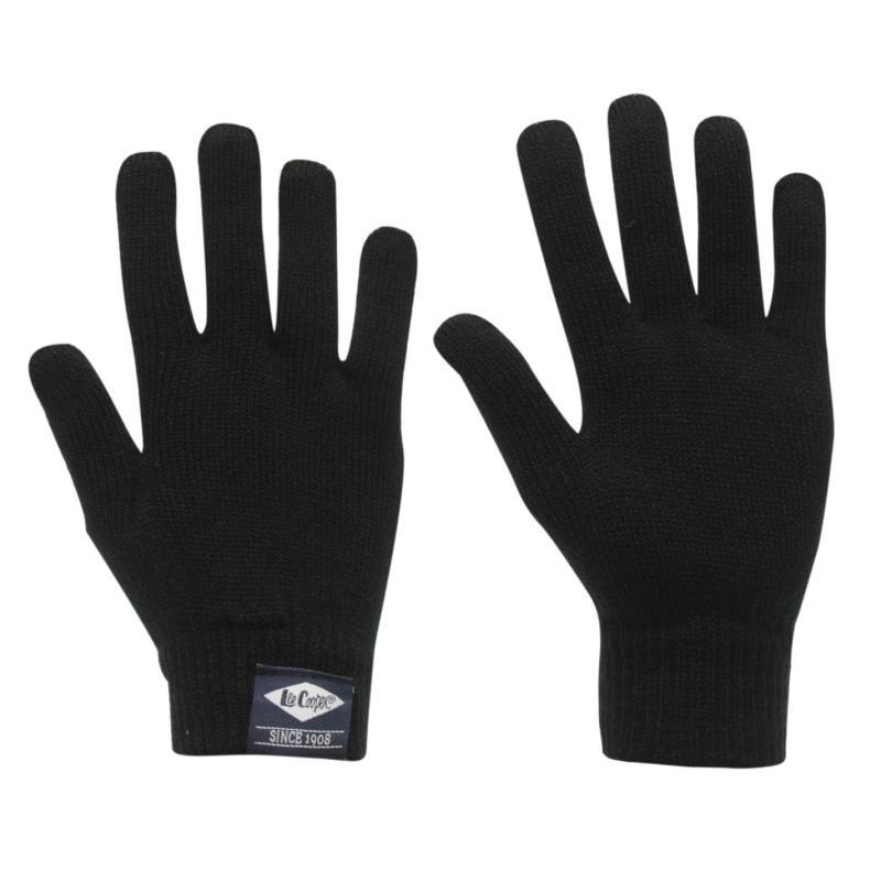 Lee Cooper Knit Gloves Junior Boys Black