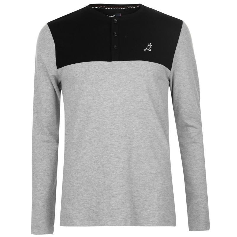 Tričko Kangol Cut and Sew LS T Shirt Mens Grey Marl/Black
