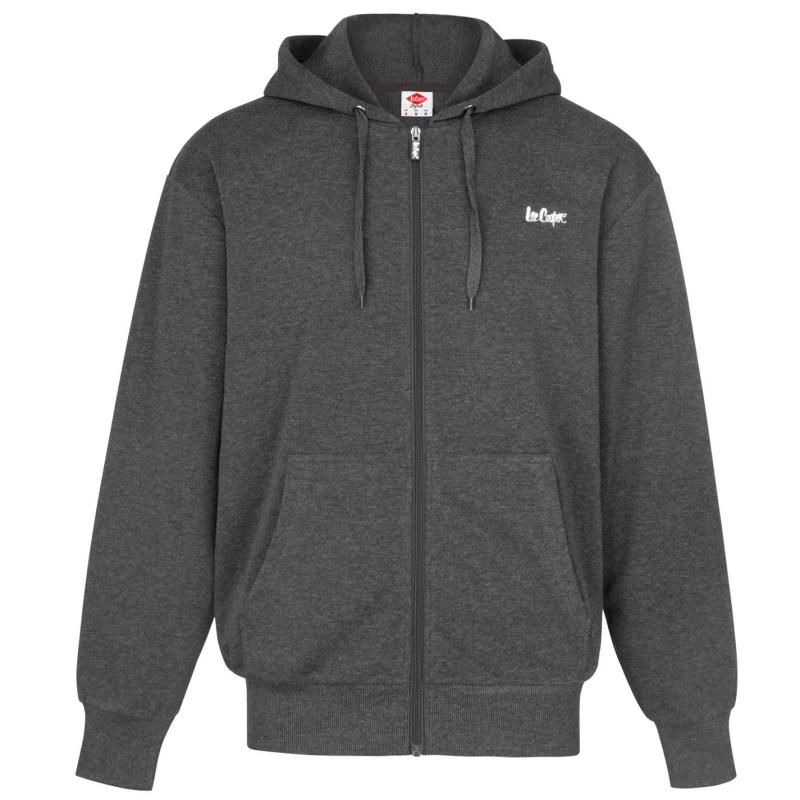 Mikina Lee Cooper Full Zip Hoody Mens Grey Marl