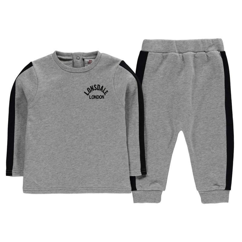 Tepláky Lonsdale Logo 2 Piece Jogger Set Baby Boys Grey/Black