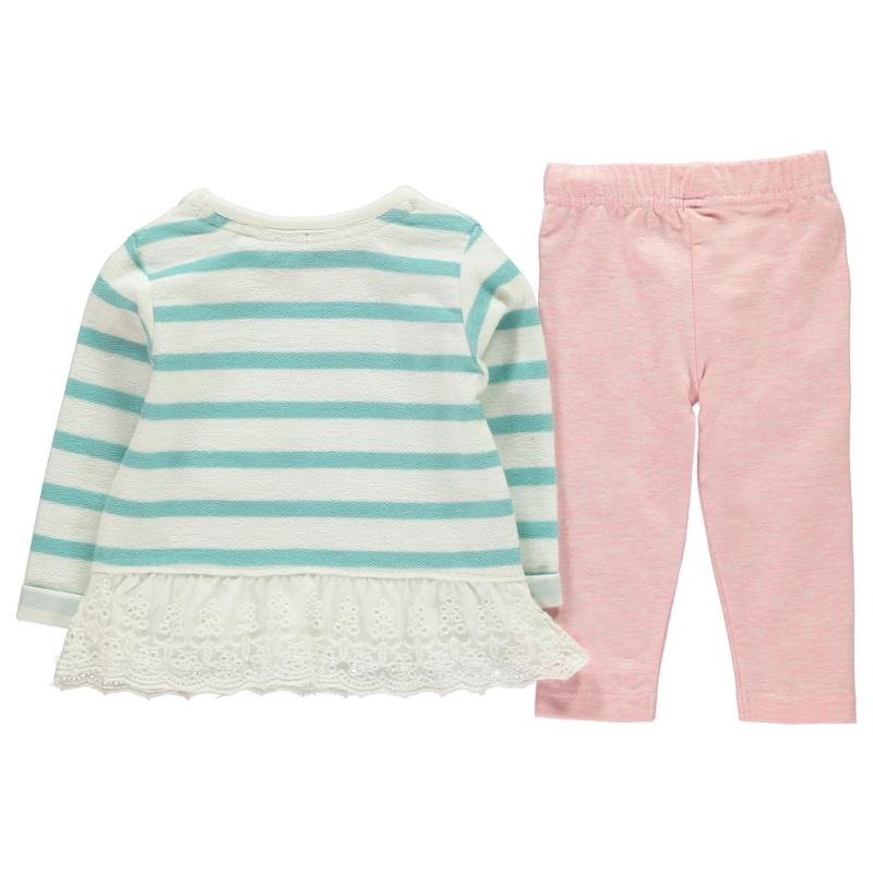 Crafted Mini Crew Sweater Set Baby Girls Blue Lace Hem