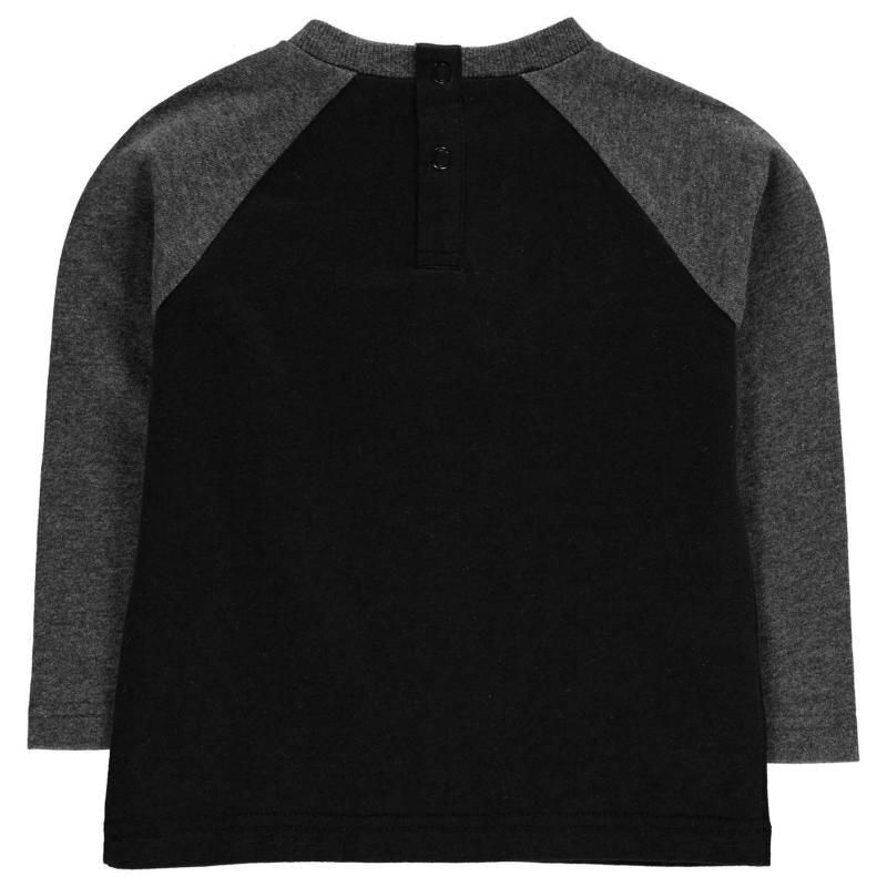 Tričko Lonsdale Contrast Long Sleeve Tee Baby Boys Black/Charcoal