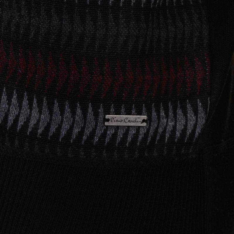Pierre Cardin Geo Knit Jumper Mens Black/Char/Burg