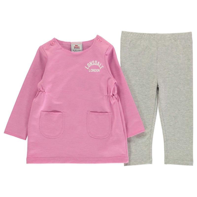 Šaty Lonsdale Logo Dress Baby Pink/Grey