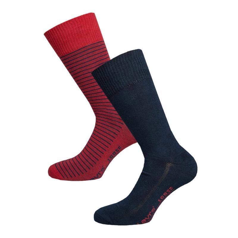Ponožky Levis Mens 2 Pack SF Stripe Crew Socks Red navy