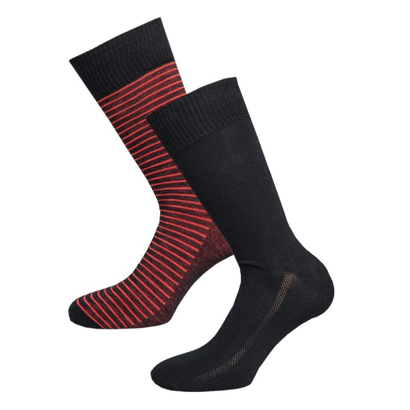 Ponožky Levis Mens 2 Pack SF Stripe Crew Socks Black Red