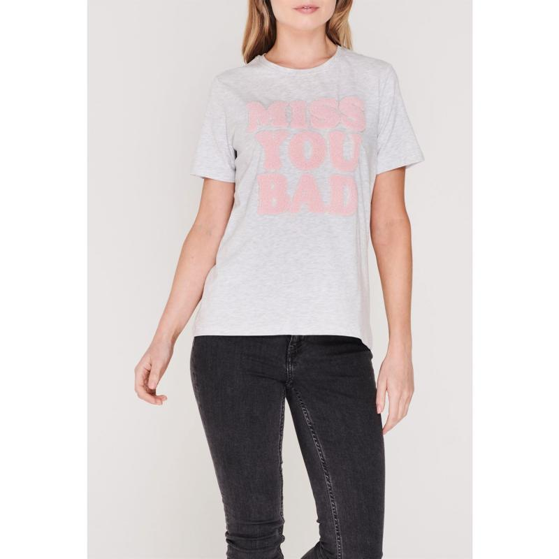 Noisy May Hayden Terry T Shirt White/Pink