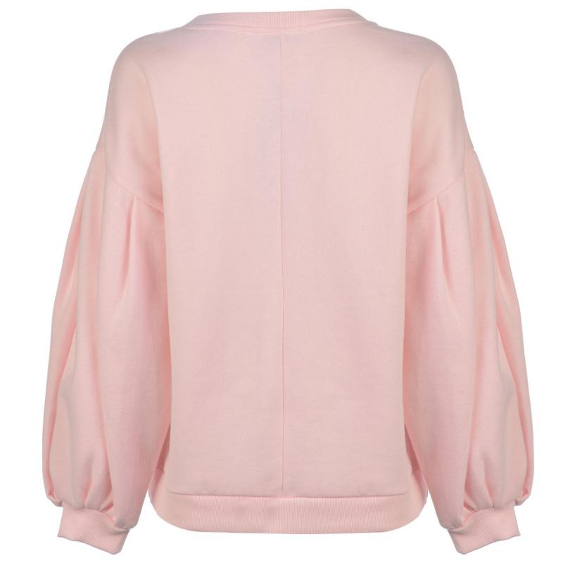 Mikina Noisy May Loui Puff Sleeve Pullover Barely Pink