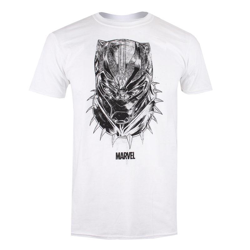 Tričko Marvel Mens Black Panther Mask T-Shirt White