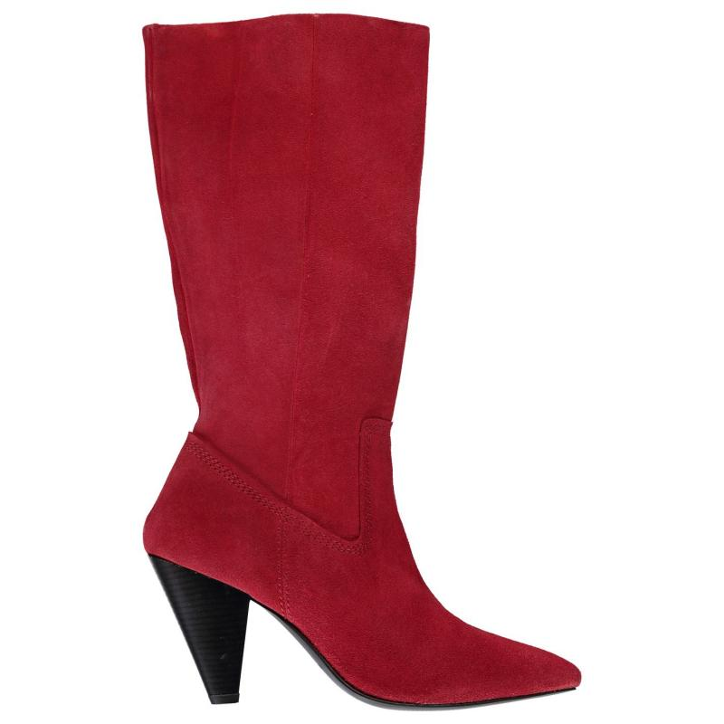 Attribute Edgy High Boots Red Suede