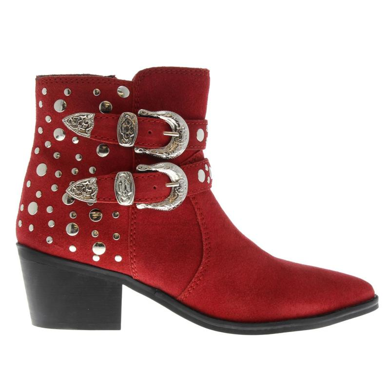 Attribute Irma Studded Ankle Boots Red Suede