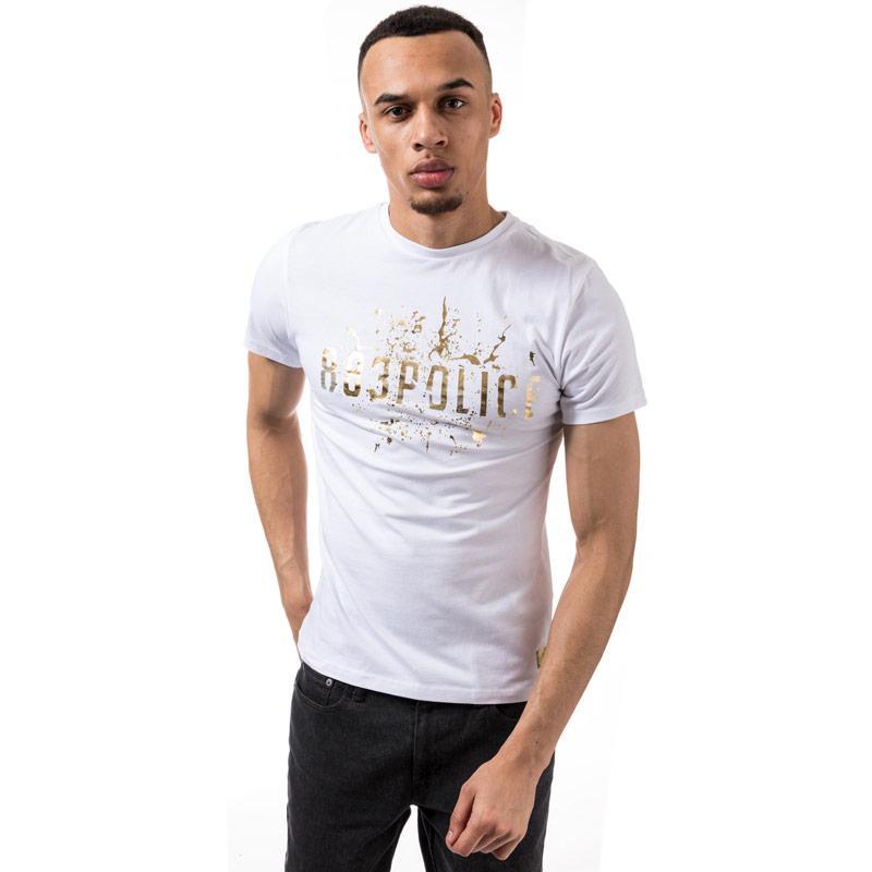 Tričko 883 Police Mens Donlin Foil Print T-Shirt White
