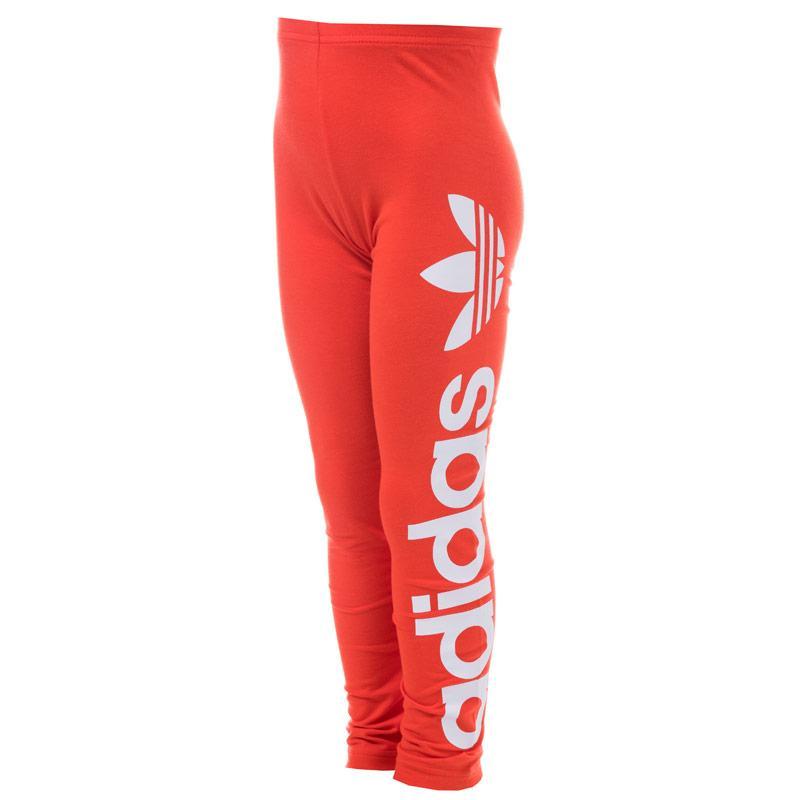 Adidas Originals Junior Girls Logo Leggings Red