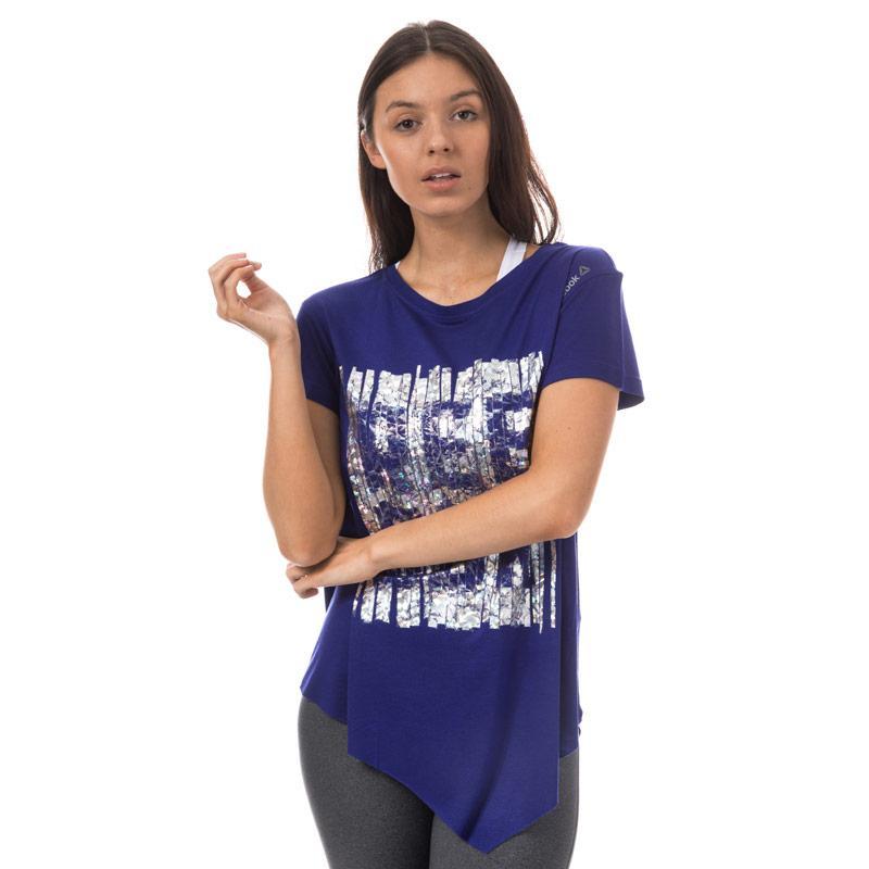 Reebok Womens Dance Asymmetric T-Shirt Purple