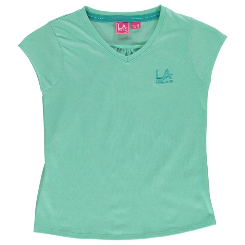 LA Gear V Neck T Shirt Junior Girls Mint Green