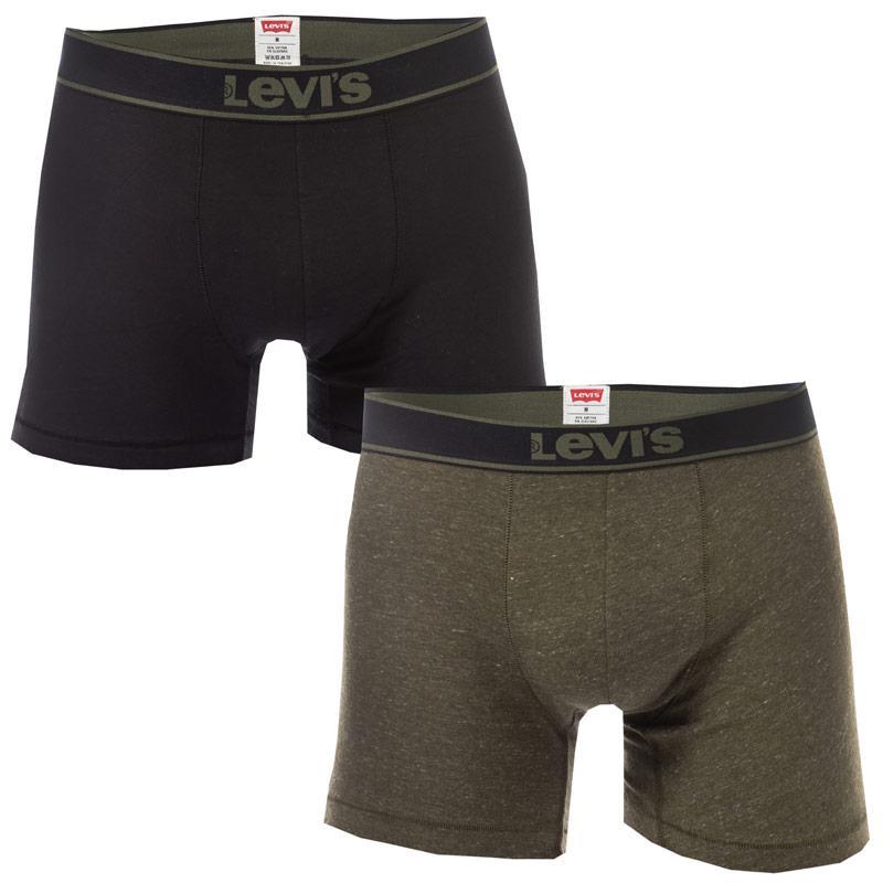 Spodní prádlo Levis Mens Vintage Heather 2 Pack Boxer Shorts Green black
