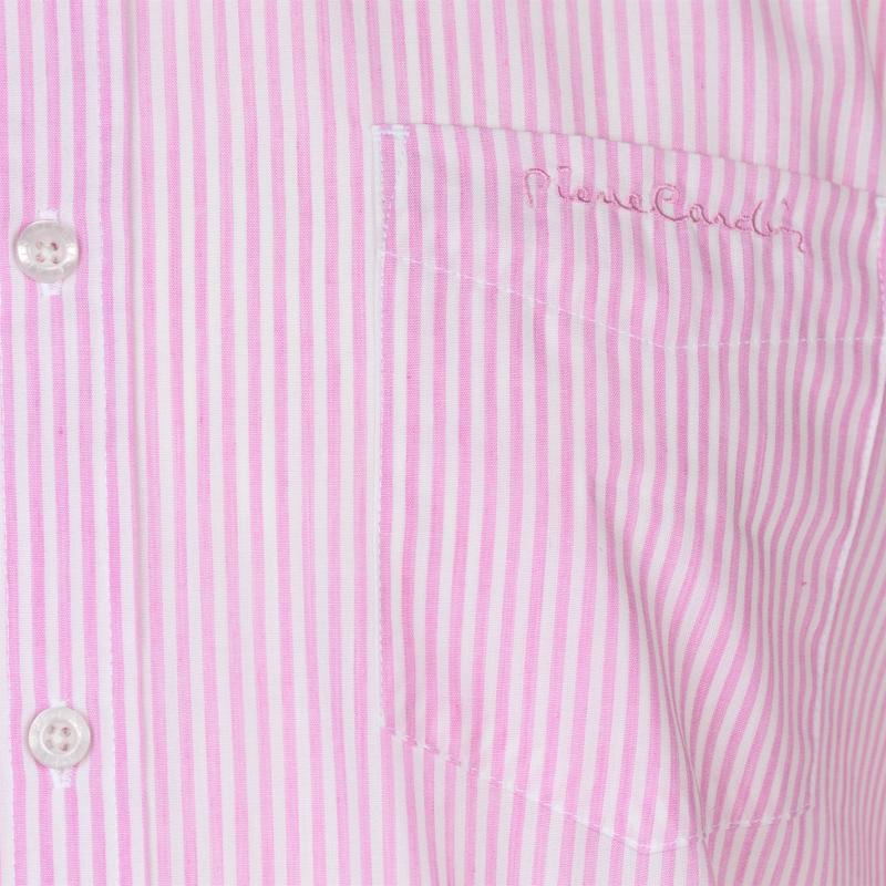Pierre Cardin Yarn Dye Long Sleeve Shirt Mens Pink/White