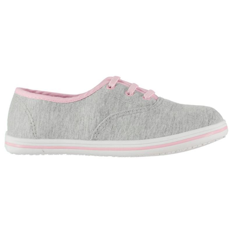 Slazenger Infants Canvas Pumps Grey Marl/Pink