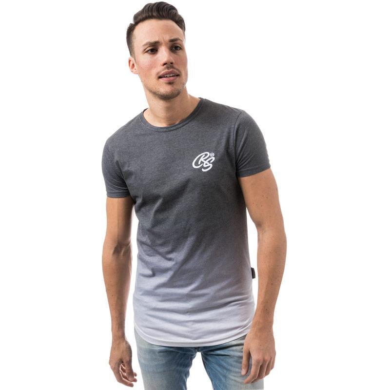 Tričko Crosshatch Black Label Mens Cheetwood Ombre T-Shirt Charcoal