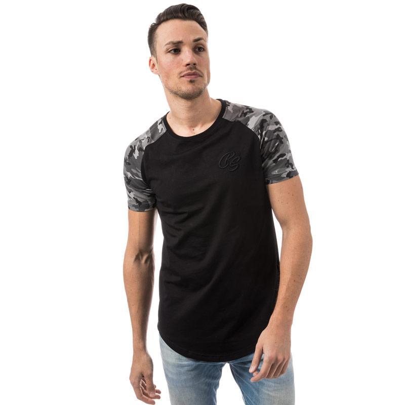 Tričko Crosshatch Black Label Mens Hill Grove Camo T-Shirt Black